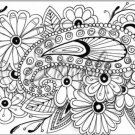 "Adult Coloring ~ Paisley Flowers ~ Horizontal  ~ 6"" X 8"" Foil Pan Lid Cover"