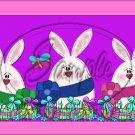 3 Three Bunnies Purple ~  Quart Glass Jar