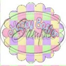 Pastel Checkered Easter  ~ Scallop Cupcake Toppers ~ Set of 1 Dozen