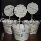 Your Business Logo ~ Scalloped Cupcake Topper & Wrapper Set ~ Set of 1 Dozen