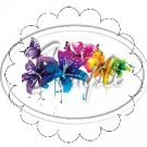 Colorful Lilies ~ Scallop Edge ~ Cupcake Toppers ~ Set of 1 Dozen