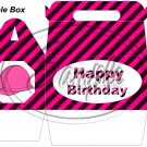 Construction Pink Hard Hat Happy Birthday ~ Gable Gift or Snack Box