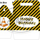 Construction Yellow Traffic Cone  Happy Birthday ~ Gable Gift or Snack Box