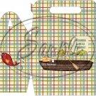Gone Fishing Fish Green & Blue Plaid Boat & Gear  ~ MINI Gable Gift or Snack Box