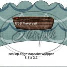 Gone Fishing Fish Waves ~ Scalloped Cupcake Wrappers ~ Set of 1 Dozen