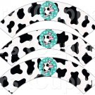 Aqua Cow ~ Cupcake Wrappers ~ Set of 1 Dozen