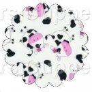 Pink, Black & White Cow ~ Scalloped Cupcake Toppers ~ Set of 1 Dozen