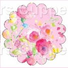 Pink Wild Flowers ~ Scalloped Cupcake Toppers ~ Set of 1 Dozen