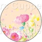 Peach Single Wild Flower ~ Cupcake Toppers ~ Set of 1 Dozen