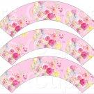 Pink Wild Flowers ~ Cupcake Wrappers ~ Set of 1 Dozen