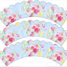 Blue Wild Flowers ~ Scalloped Cupcake Wrappers ~ Set of 1 Dozen