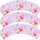 Lavender Wild Flowers ~ Scalloped Cupcake Wrappers ~ Set of 1 Dozen