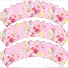 Pink Wild Flowers ~ Scalloped Cupcake Wrappers ~ Set of 1 Dozen
