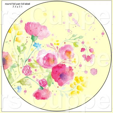 "Yellow Wild Flowers  ~ 7"" Round Foil Pan Lid Cover"