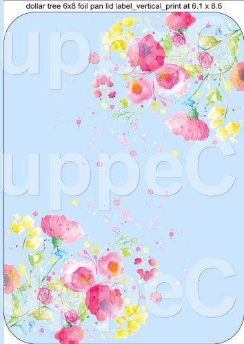 "Blue Wild Flowers  ~ Vertical ~ 6"" X 8"" Foil Pan Lid Cover"
