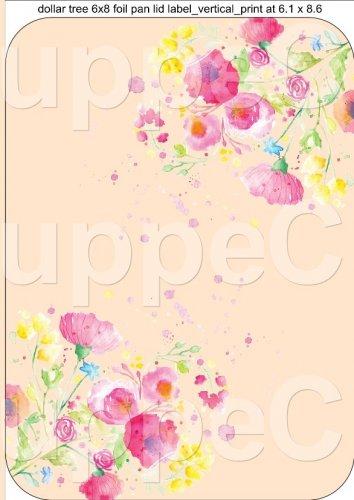 "Peach Wild Flowers  ~ Vertical ~ 6"" X 8"" Foil Pan Lid Cover"