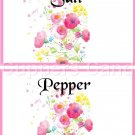Pink Border Wild FLowers ~ Salt & Pepper Shaker Covers Wrappers