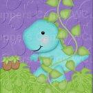 """Dinosaur Purple ~ Vertical ~ 6"""" X 8"""" Foil Pan Lid Cover"""