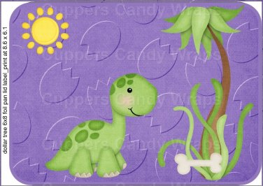 "Dinosaur Purple ~ Horizontal  ~ 6"" X 8"" Foil Pan Lid Cover"