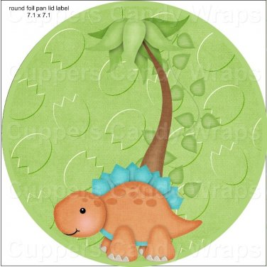 """Dinosaur Green ~ 7"""" Round Foil Pan Lid Cover"""