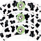 Green Cow ~ Scalloped Cupcake Wrappers ~ Set of 1 Dozen
