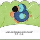 Dinosaur Green #5 ~ Scalloped Cupcake Wrappers ~ Set of 1 Dozen