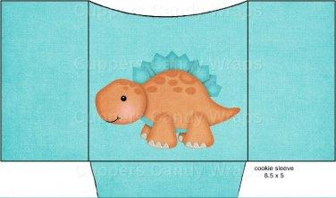 Dinosaur Turquoise / Aqua #1 ~ Cookie Pouch ~ Sleeve EACH