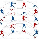 Red & Blue Baseball Players  ~  Cupcake Wrappers ~ Set of 1 Dozen