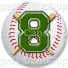 Green Baseball Number 8 ~ Cupcake Toppers ~ Set of 1 Dozen