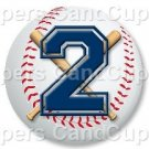 Blue Baseball Number 2 ~ Cupcake Toppers ~ Set of 1 Dozen