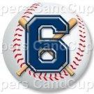 Blue Baseball Number 6 ~ Cupcake Toppers ~ Set of 1 Dozen
