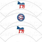 I Voted Democrat White ~  Cupcake Wrappers ~ Set of 1 Dozen