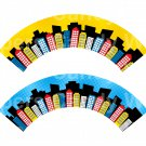 City Scape  Yellow Blue ~  Cupcake Wrappers ~ Set of 1 Dozen