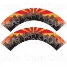 City Scape  Orange Red ~  Cupcake Wrappers ~ Set of 1 Dozen