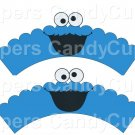 Cookie Monster Sesame Street Inspired ~  Scalloped Cupcake Wrappers ~ Set of 1 Dozen