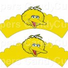 Big Bird Sesame Street Inspired ~  Scalloped Cupcake Wrappers ~ Set of 1 Dozen