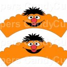 Ernie Sesame Street Inspired ~  Scalloped Cupcake Wrappers ~ Set of 1 Dozen