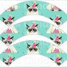 Aqua Grumpy Cat Inspired by ~  Cupcake Wrappers ~ Set of 1 Dozen