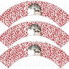 Red Hearts Grumpy Cat Inspired by ~  Cupcake Wrappers ~ Set of 1 Dozen
