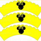 Yellow Bow Silhouette Minnie Mouse  Inspired by ~  Scalloped Cupcake Wrappers ~ Set of 1 Dozen