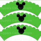 Green Silhouette Mickey Mouse  Inspired by ~  Scalloped Cupcake Wrappers ~ Set of 1 Dozen