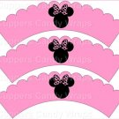Pink Bow Silhouette Minnie Mouse  Inspired by ~  Scalloped Cupcake Wrappers ~ Set of 1 Dozen