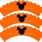 Orange Silhouette Mickey Mouse  Inspired by ~  Scalloped Cupcake Wrappers ~ Set of 1 Dozen