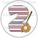 #2 Baseball  ~ Cupcake Toppers ~ Set of 1 Dozen