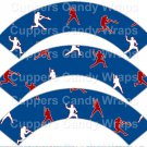Red & Blue Baseball Players ~  Scalloped Cupcake Wrappers ~ Set of 1 Dozen