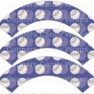 Blue  Baseball  ~  Scalloped Cupcake Wrappers ~ Set of 1 Dozen