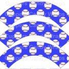 Bright Blue Baseball  ~  Scalloped Cupcake Wrappers ~ Set of 1 Dozen
