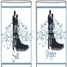 Blue Fantasy Wedding Personalized & Blank ~ Salt & Pepper Shaker Covers Wrappers