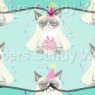 Aqua Party Grumpy Cat ~  Pint Glass Jar