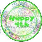 Pink Green Blue Fireworks Green Border ~ Cupcake Toppers ~ Set of 1 Dozen